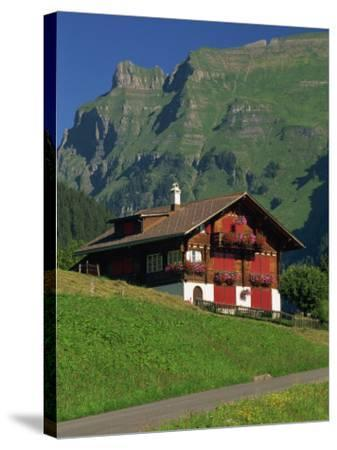 Typical Wooden Chalet with Colourful Shutters, Grindelwald, Bern, Switzerland, Europe-Tomlinson Ruth-Stretched Canvas Print