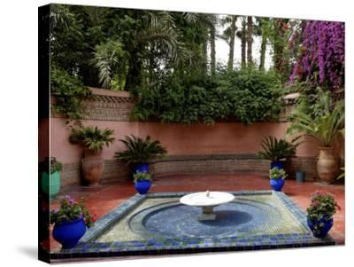 Fountain in the Majorelle Garden, Restored by the Couturier Yves Saint-Laurent, Marrakesh, Morocco-De Mann Jean-Pierre-Stretched Canvas Print