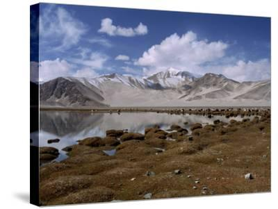 High Mountain Lake and Mountain Peaks, Beside the Karakoram Highway, China-Alison Wright-Stretched Canvas Print