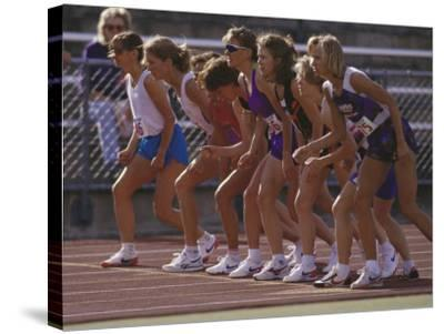 Female Runners at the Start of a Track Race--Stretched Canvas Print