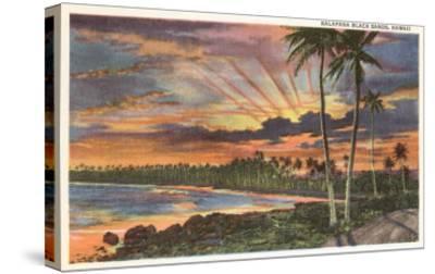 Sunset, Kalapana Black Sands, Hawaii--Stretched Canvas Print