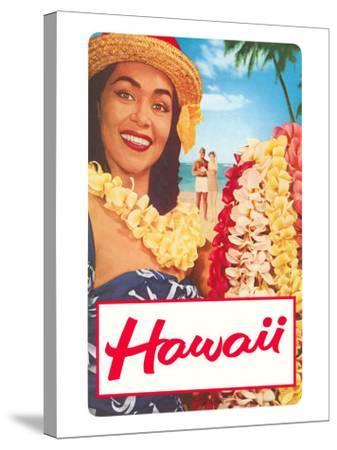 Hawaii, Woman with Frangipani Leis--Stretched Canvas Print
