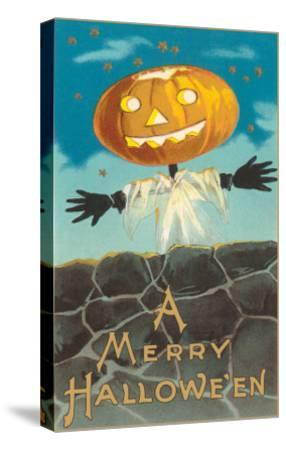 Merry Halloween, Jack O'Lantern by Wall--Stretched Canvas Print
