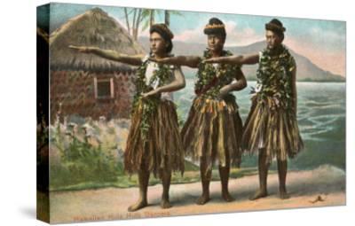 Hawaiian Hula Dancers--Stretched Canvas Print