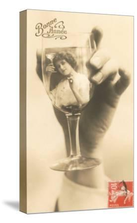 Bonne Annee, Girl in Wine Glass--Stretched Canvas Print
