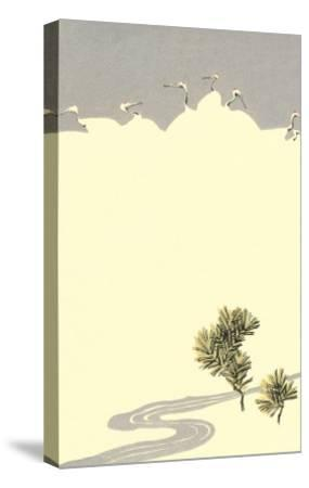 Cranes and Pines--Stretched Canvas Print