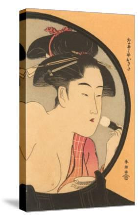 Japanese Woodblock, Woman at Toilette--Stretched Canvas Print