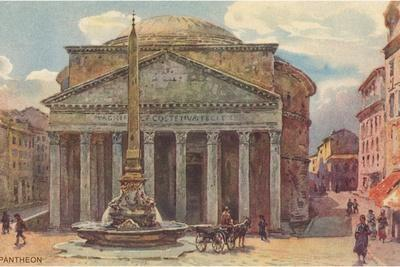 Pantheon in Rome, Painting--Stretched Canvas Print
