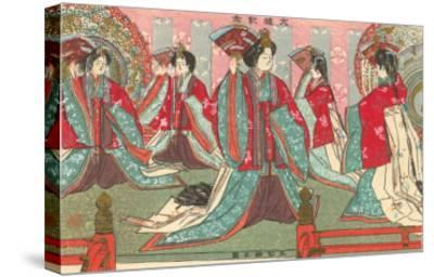 Japanese Woodblock, Women with Fans--Stretched Canvas Print