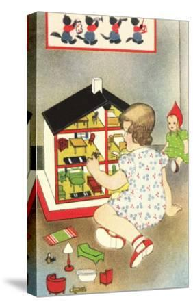 Girl Playing with Doll House--Stretched Canvas Print