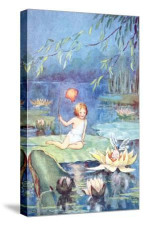 Child and Fairy on Lily Pond--Stretched Canvas Print