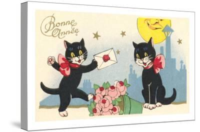 French Black Cats, Bonne Annee--Stretched Canvas Print