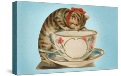 Kitten Drinking Out of Tea Cup--Stretched Canvas Print
