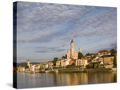 Danube River View with St. Paul church, Passau, Bayern-Bavaria, Germany-Walter Bibikow-Stretched Canvas Print