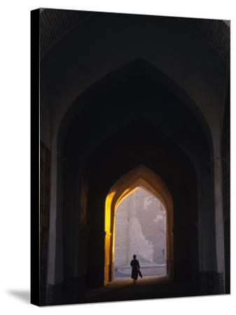 Silhouette Through Archway, Bukhara, Uzbekistan-Ellen Clark-Stretched Canvas Print