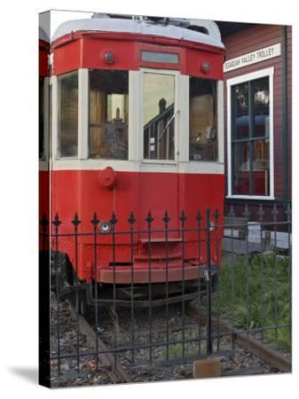 Railroad car at the train depot park in Issaquah, Washington, USA-Janis Miglavs-Stretched Canvas Print