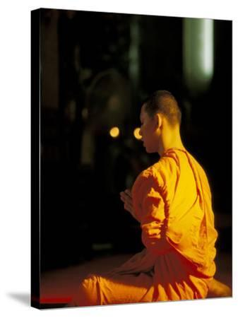 Buddhist Monk at Morning Prayer, Marble Temple, Bangkok, Thailand-Paul Souders-Stretched Canvas Print
