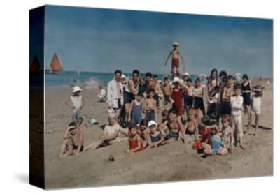 Large Group of Children Celebrate a Holiday on the Adriatic-Hans Hildenbrand-Stretched Canvas Print