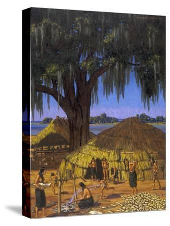 Choctaws in Louisiana Bayou Country Harvest Corn-W. Langdon Kihn-Stretched Canvas Print