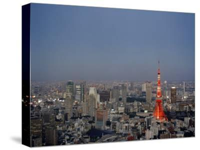 Tokyo City Skyline, with the Famous Tokyo Tower Illuminated-xPacifica-Stretched Canvas Print