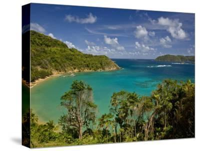 View across Blue Water Bay Toward the Caribbean Sea-Michael Melford-Stretched Canvas Print