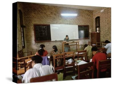 Students During a Lesson in a University Classroom in Rangoon, Burma-xPacifica-Stretched Canvas Print