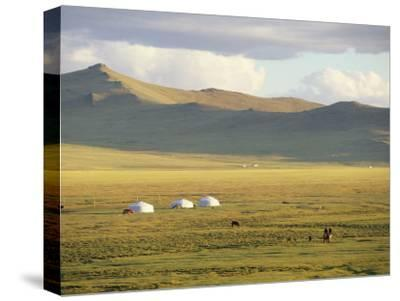 Steppeland Gers (Yurts) and Riders, Zavkhan, Mongolia-David Edwards-Stretched Canvas Print
