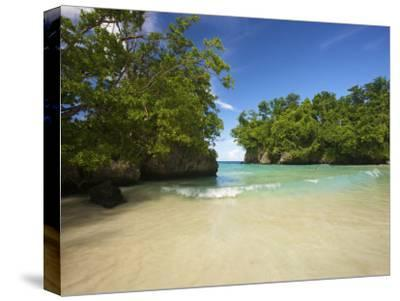 Secluded Beach at Frenchman's Cove in Jamaica-Michael Melford-Stretched Canvas Print