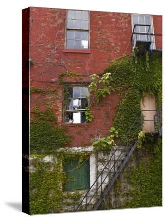 Part of a Brick Wall with a Fire Escape-Todd Gipstein-Stretched Canvas Print