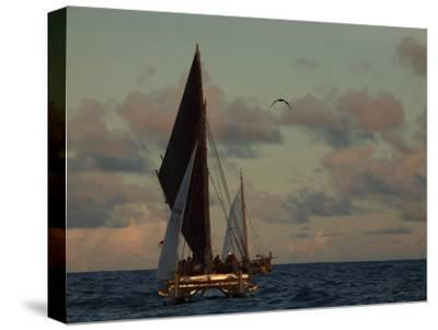 Hokule'A, a Double Hulled Canoe and a Polynesian Voyaging Canoe-Stephen Alvarez-Stretched Canvas Print