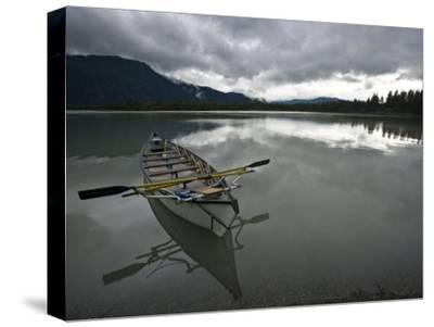 Rowboat on Glass-Like Mendenhall Lake at Dusk-Michael Melford-Stretched Canvas Print