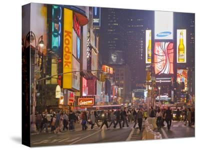 Busy Night with Lots of People in Times Square, New York City-Mike Theiss-Stretched Canvas Print