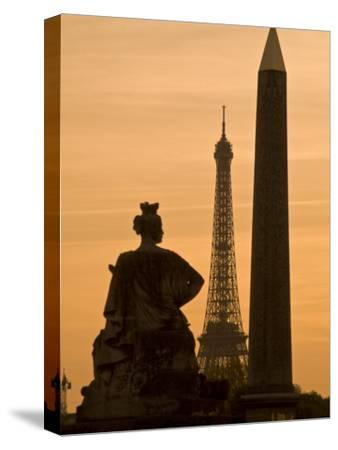 Obelisk of Luxor, Eiffel Tower and Statue De Strasbourg at Dusk-Richard Nowitz-Stretched Canvas Print