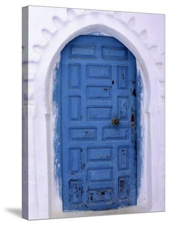 Chefchaouen Blue Door and Whitewashed Walls - Typical in Rif Mountains Town of Chefchaouen, Morocco-Andrew Watson-Stretched Canvas Print