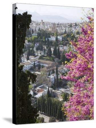 View from Gardens of the Generalife to the Albaicin District, Granada, Andalucia-Ruth Tomlinson-Stretched Canvas Print