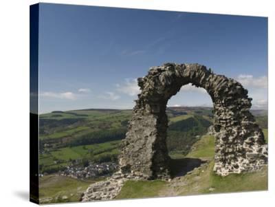 Ruins of Dinas Bran Castle and Village of Llangollen Below, Denbighshire-Richard Maschmeyer-Stretched Canvas Print