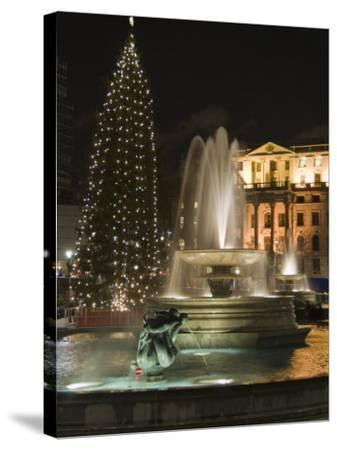 Christmas Tree and Fountains in Trafalgar Square at Night, London-Hazel Stuart-Stretched Canvas Print