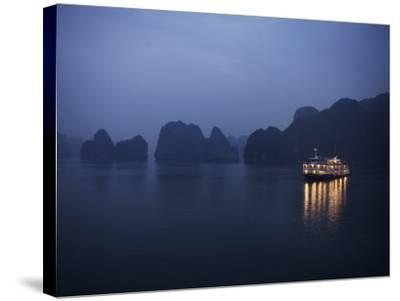 Paddle Steamer at Anchor, Dawn, Halong Bay, Vietnam, Indochina, Southeast Asia, Asia-Purcell-Holmes-Stretched Canvas Print