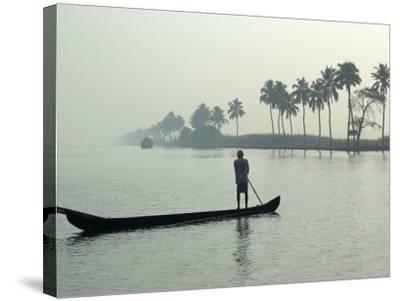 Canoe at Dawn on Backwaters, Alleppey District, Kerala, India, Asia-Annie Owen-Stretched Canvas Print