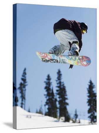 Snowboarder Jumping at Telus Half Pipe Competition 2009, Whistler Mountain-Christian Kober-Stretched Canvas Print