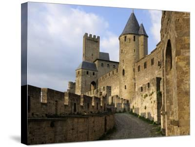 Walled and Turreted Fortress of La Cite, Carcassonne, Languedoc-Peter Richardson-Stretched Canvas Print