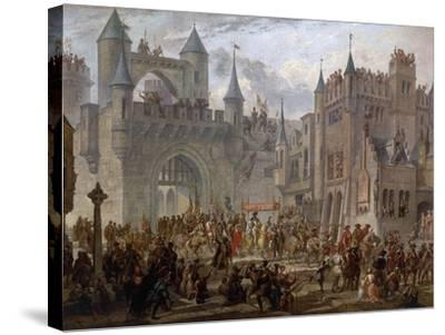 Henry II, 1519-59 King of France, entering Metz, France, 18 April 1552-Auguste Migette-Stretched Canvas Print