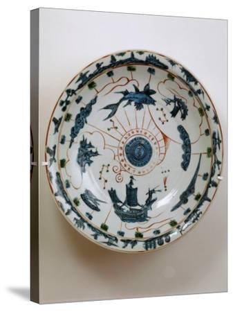 Fujian Plate with Maritime Motif, Swatow Porcelain,1573-1620, Ming Dynasty--Stretched Canvas Print