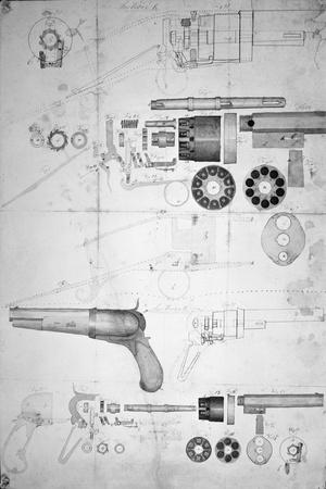 Original Plans for a Ten-chamber Revolver which Later Became the Six-chamber Patented in 1836-Samuel Colt-Stretched Canvas Print