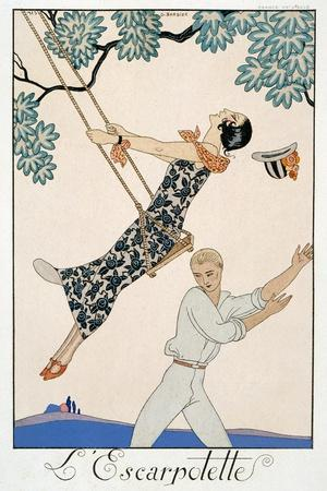 The Swing, 1923-Georges Barbier-Stretched Canvas Print