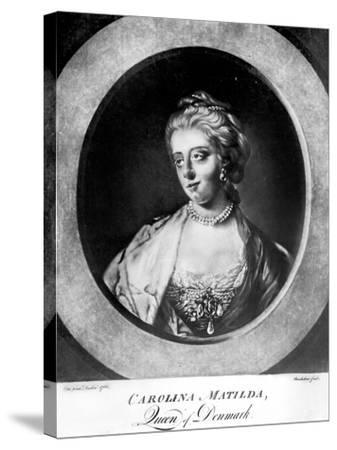 Caroline Matilda, Queen of Denmark and Norway, Engraved by Brookshaw-Francis Cotes-Stretched Canvas Print