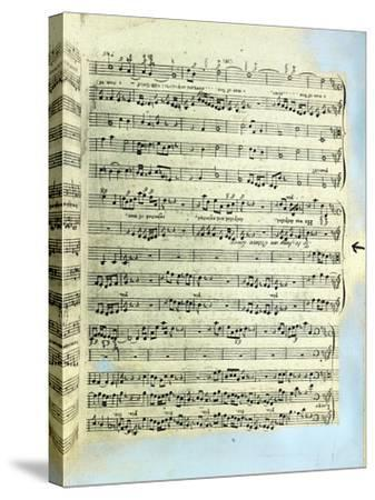 A Page from One of the Only Two Copies known to Exist of the First Printing of Handel's Messiah in --Stretched Canvas Print