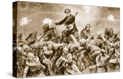 For the Glory of Raj: Indian Troops Charging the German Trenches at Neuve Chapelle--Stretched Canvas Print