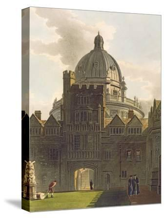 Exterior of Brasenose College and Radcliffe Library, Illustration from the 'History of Oxford'-Augustus Charles Pugin-Stretched Canvas Print