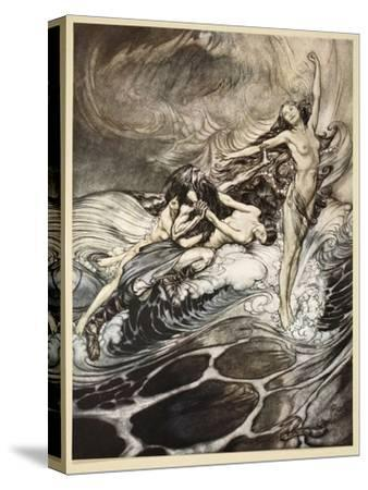 Rhinemaidens obtain possession of ring, illustration from 'Siegfried and the Twilight of Gods'-Arthur Rackham-Stretched Canvas Print